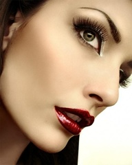Glossy red lips and