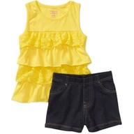 Garanimals Baby Girls' 2 Piece Lace Tank and Knit Denim Short Set