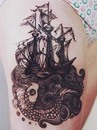 ship, waves, no fish