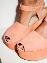 suede peach heels.