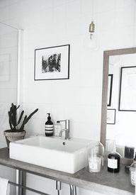 white walls, sink, e