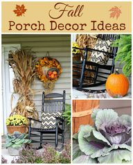 Fall porch decor wit