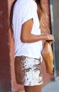 white tee & #sequins...