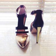 gold heels.