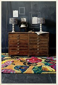 rug, cabinet, lamps