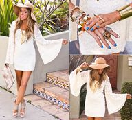 I would keep accessories to the minimum and just wear the arm cuff and drop the other bangles. Luv the necklace & silver ring on the index finger! (by Maria De La Cruz) http://lookbook.nu/look/3235897-BOHEMIAN-GLAM