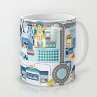 Blue City Mug by Chi
