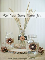 mason jar pine cone