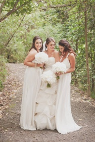 all white wedding- with neutral bridesmaid dresses