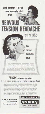 "Description: 1959 ANACIN vintage magazine advertisement ""Nervous Tension Headache"" -- Acts Instantly -- To give more complete relief from Nervous Tension Headache ... Anacin relaxes tension * releases pressure * relieves pain fast -- Size: The dimensions of the half-page advertisement are approximately 5.25 inches x 13.5 inches (13.25 cm x 34.25 cm). Condition: This original vintage half-page advertisement is in Excellent Condition unless otherwise noted."