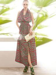 Fashion Color Split Stripe Pattern Halter Womens Maxi Dress. See More Maxi Dress at http://www.ourgreatshop.com/Maxi-Dress-C85.aspx