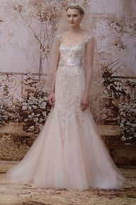 Celebrating romance with her Fall 2014 Bridal Collection, Monique Lhuillier included several blush gowns.