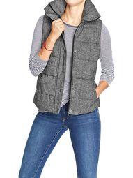 tweed puffer vest -