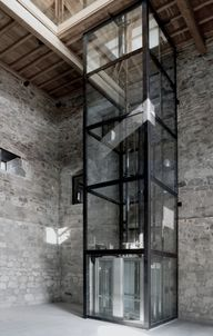 glass elevator at th