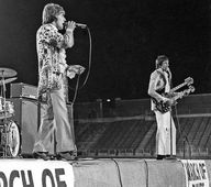 The Who - Flint, Michigan, 23 August 1967, with first known use of Gibson SG EDS-1275 double-neck. Two amp stacks at left are one Sunn 100S with two 2x15s, and stack at right is one Super Beatle.