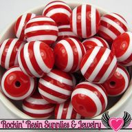20mm RED Striped Bea