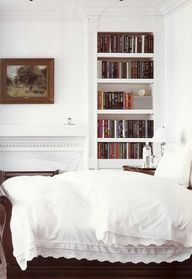 White with books.
