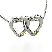 Peridot twin hearts