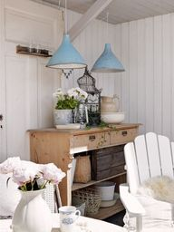 chalk blue lights...pine cupboard...i love it all!