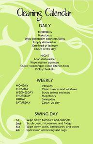 #Cleaning #Calendar