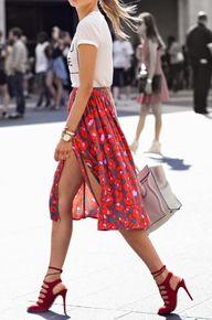 Floral midi skirts.
