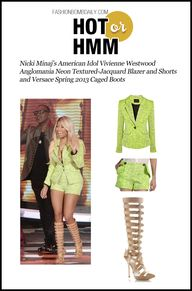 Hot! or Hmm… Nicki Minaj's  American Idol  Vivienne Westwood Anglomania Neon Textured-Jacquard Blazer and Shorts and Versace Spring 2013 Caged Boots