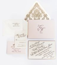 Set the stage for your wedding with @Ceci New York Caitlin & Blake Invitation Suite, featuring a gold letterpress script, gilded bevelled edge, custom envelope liner and personalized monogram.