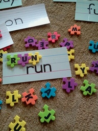 I found these awesome puzzle pieces foam letters at Walmart!