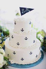 nautical wedding cake with anchors; photo: Christina Szczupak