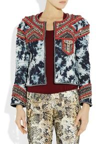 Isabel Marant embellished tie-dye denim jacket -- #tiedye #denim