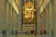 05 - La Estatua de Zeus en Olimpia. Esculpida hacia 430 a. C. por Fidias. Ubicada en el interior del templo dedicado al propio Zeus en Olimpia, Grecia, desapareció entre 393, año en que el emperador Teodosio el Grande prohibió el culto pagano, y 426, en que Teodosio II ordenó la demolición de los monumentos de Olimpia.