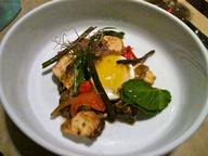 Poached octopus with