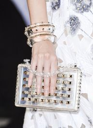 Cinderella Story  Transparent Stacked Bangles & Clutch Bag Trend for Spring Summer 2013.   Valentino Spring Summer 2013   #bag #accessory #trends