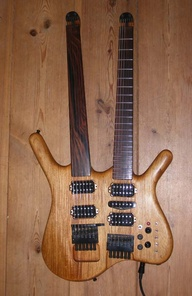 XOCHITL  Willem Niehorster built this beautiful double neck early in 2007.  (Xochitl, means Flower in the Aztec language)  pic updated - Nov 2007 - new hex pickup