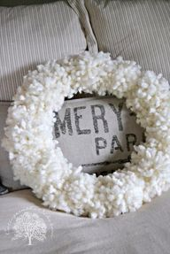 Wool tufted wreath.