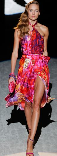 Maybe too colorful, but I'd wear it...with the shoes!  Ferragamo tropical printed dress