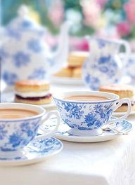 blue floral tea cups