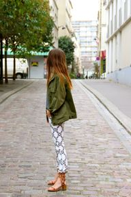 cargo jacket, printed pants, and awesome sandals