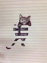 Cat climbing on line