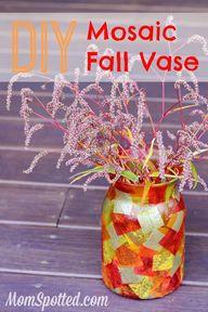 DIY Mosaic Fall Vase