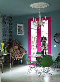 lacquered pink door