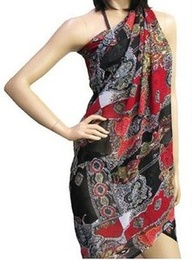 Red and Black Sarong Beach Coverup available at Fashion Nouveau - Ignite Your Style!