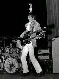 Pete Townsend - The Who. Cleveland, 31 Aug. 1967, with Gibson SG EDS-1275 6/12 double-neck, with Marshall Supa Fuzz pedal and two Fender Showman amps with 2x15 cabinets.