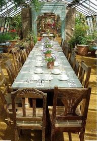 Greenhouse dining and casual elegance at it's best.  How inviting.