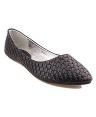 Black Woven Flat Shoes