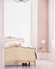 pale pink, ivory, white and gold....Pink Walls with Ivory Gilded Headboard