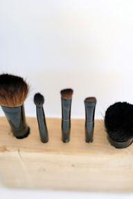 wooden makeup brush