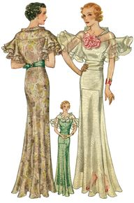 Vintage Knitted Lace Evening Gown Dress Pattern 1930s | eBay