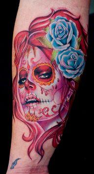 More Mexican skull tattoos. #tattoos