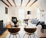wood beams and white